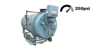 Used 150 HP 4‐Pass dryback high pressure steam boiler made by Cleaver‐Brooks.