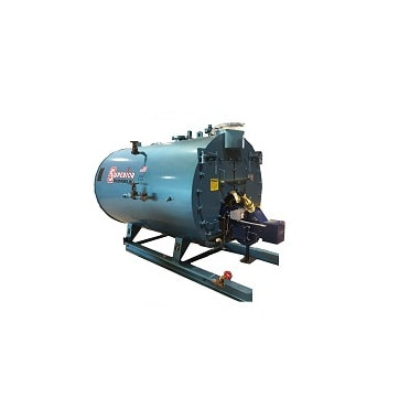 80 HP high pressure steam 2‐Pass Dryback boiler made by Superior.