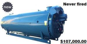 Low NOx 800 HP 125psi Hot Water CBLE model natural gas fired boiler made by Cleaver-Brooks